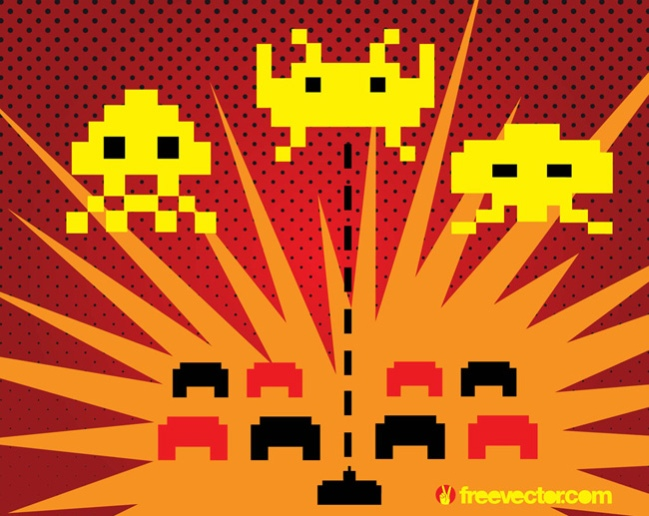 Space Invaders Game Free Vector