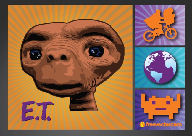 ET, Bike & Earth by FreeVector.com