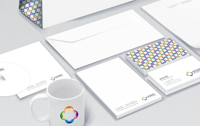 Cup, envelope, cd and card design