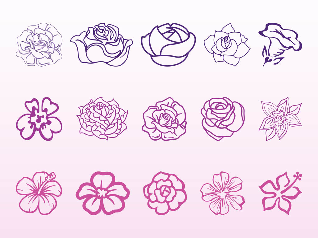 Flower Blossoms Graphics Set