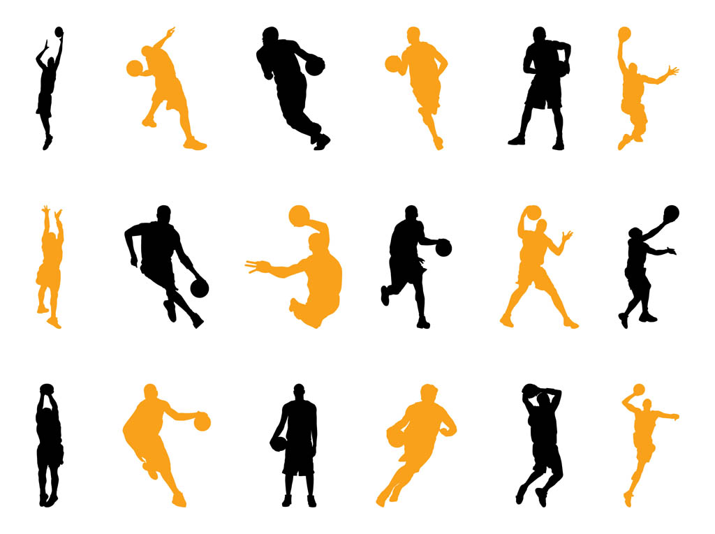 Basketball Players Silhouettes Pack Vector Art & Graphics ...