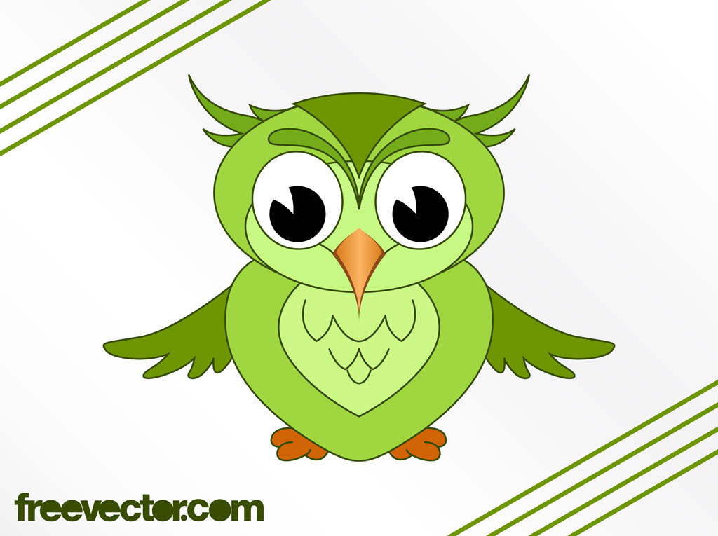 Green cartoon owls for A cartoon owl