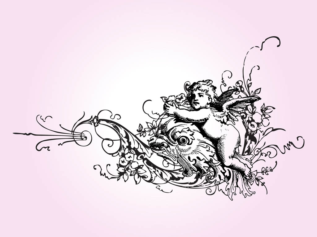 Vintage Cupid And Flowers
