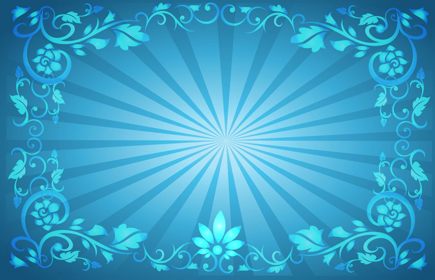 Flower Frame Sunburst Background