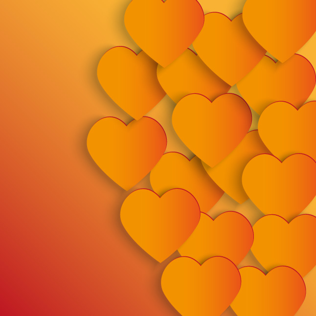 Glowing Hearts Background Vector