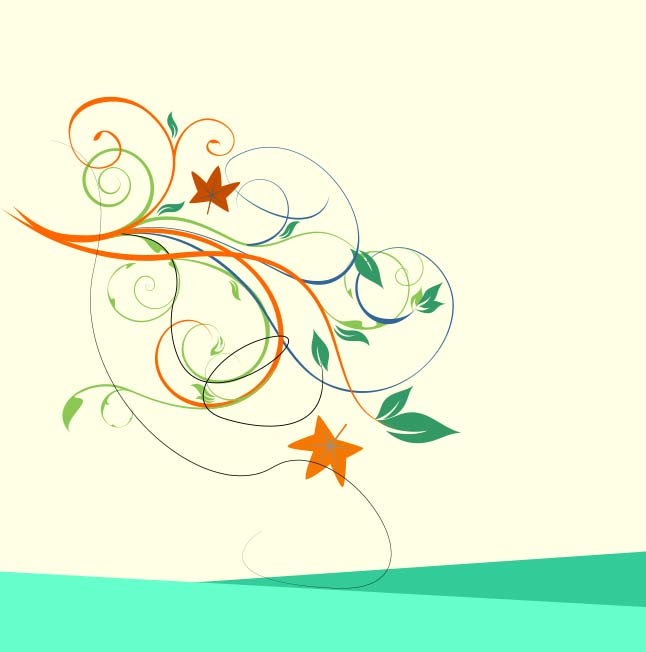 Free Cute Swirly Floral Vector Wallpaper