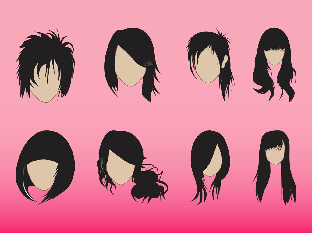 Hairstyles Graphics Set Vector Art & Graphics