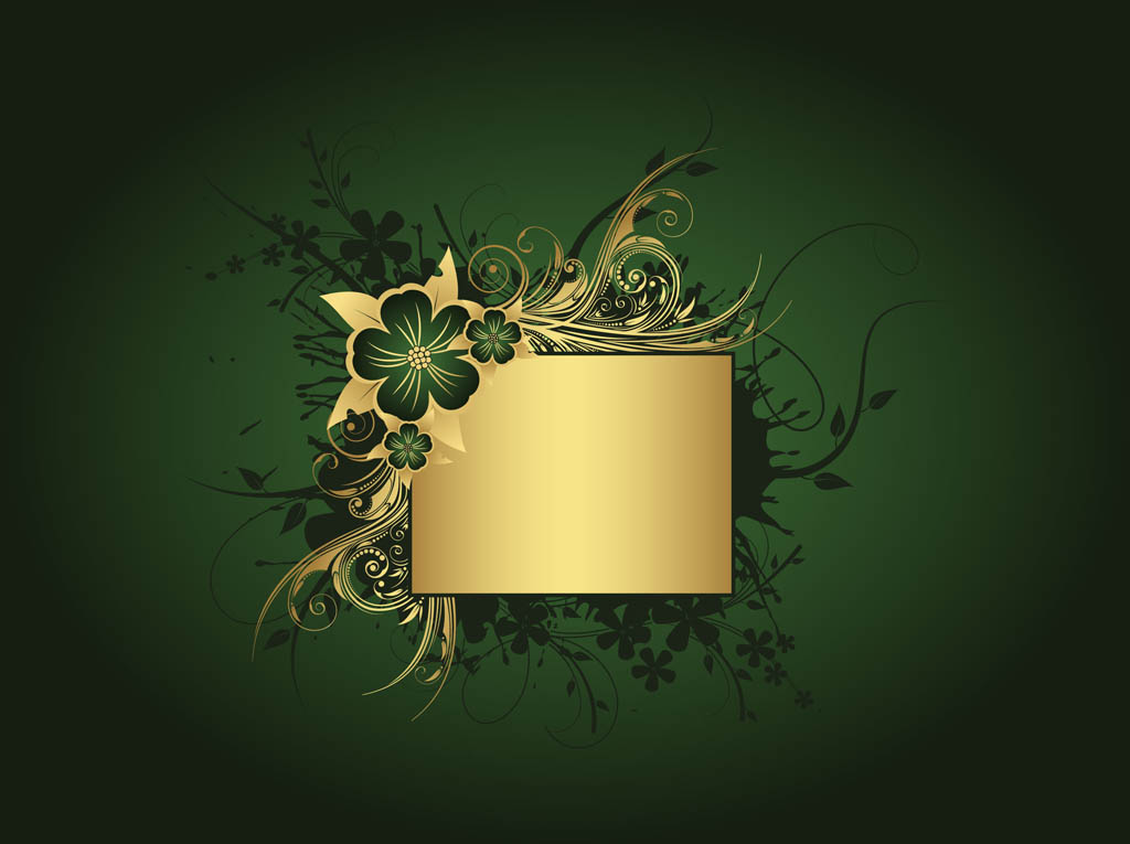 Emerald Green And Gold Background