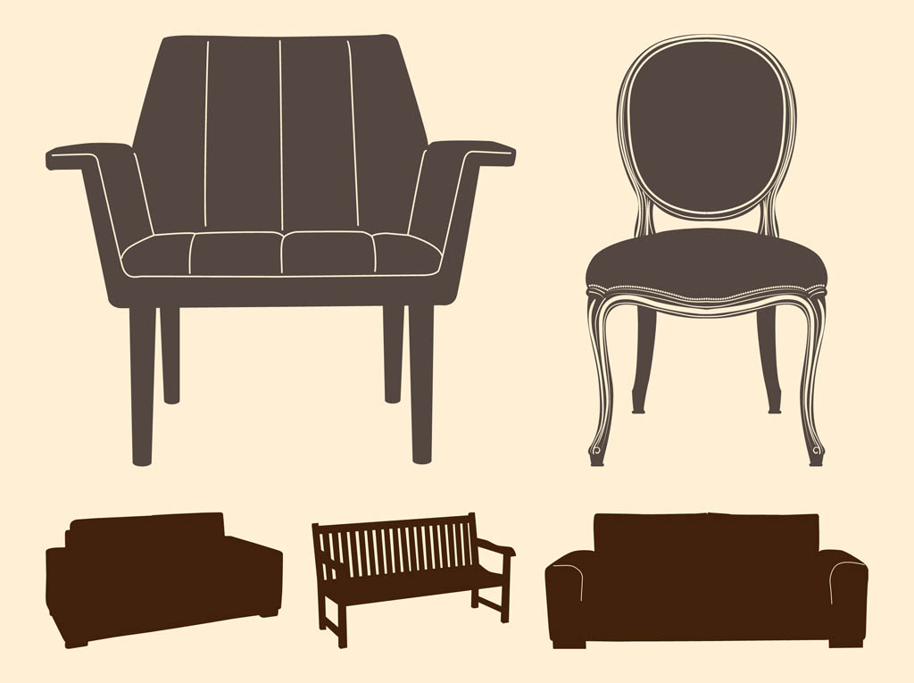 Chairs And Sofas Silhouettes Vector Art amp Graphics