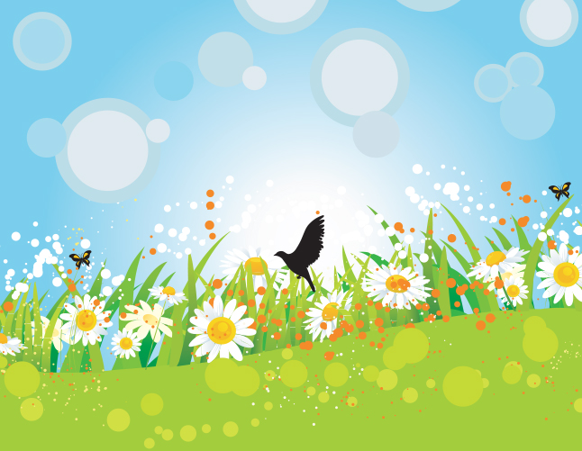 Spring Floral and Bird Vector Background