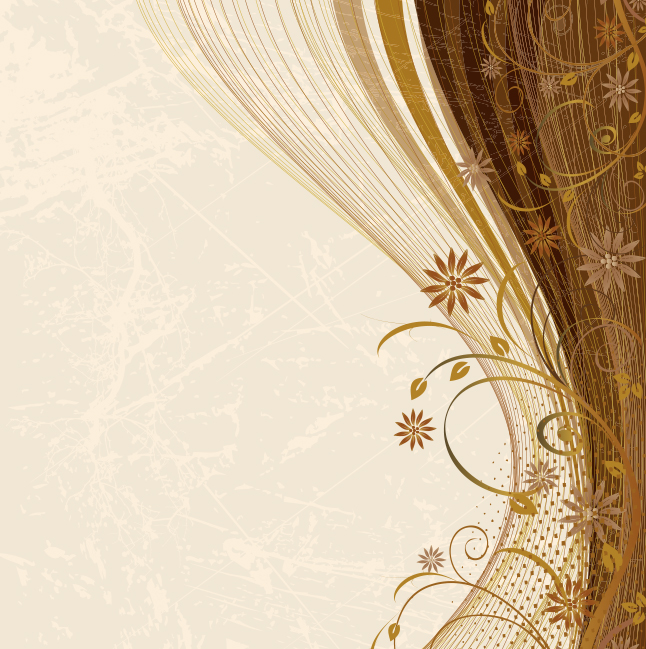 Brown Floral Swirl Background Vector