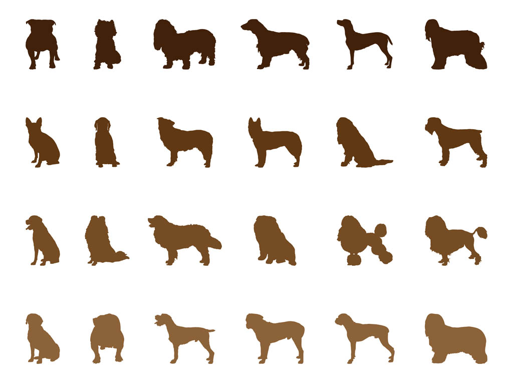 dog silhouettes set vector art & graphics | freevector