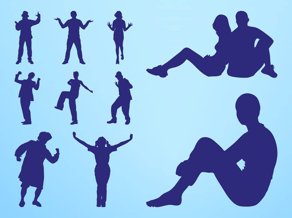 Traveling People Silhouettes Vector Art Graphics: People Silhouettes Fun Vector Art & Graphics