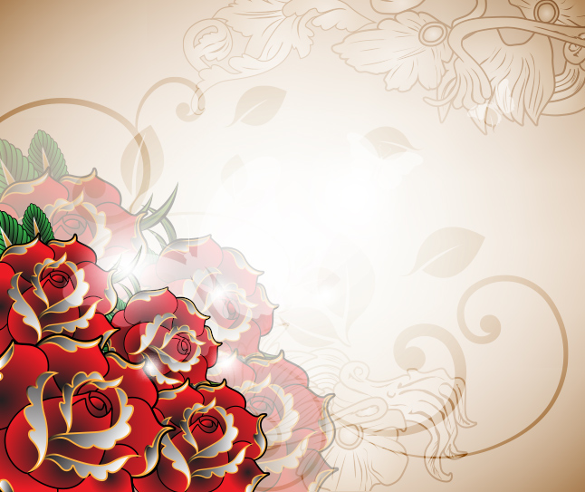 Tattoo Rose Vector Background