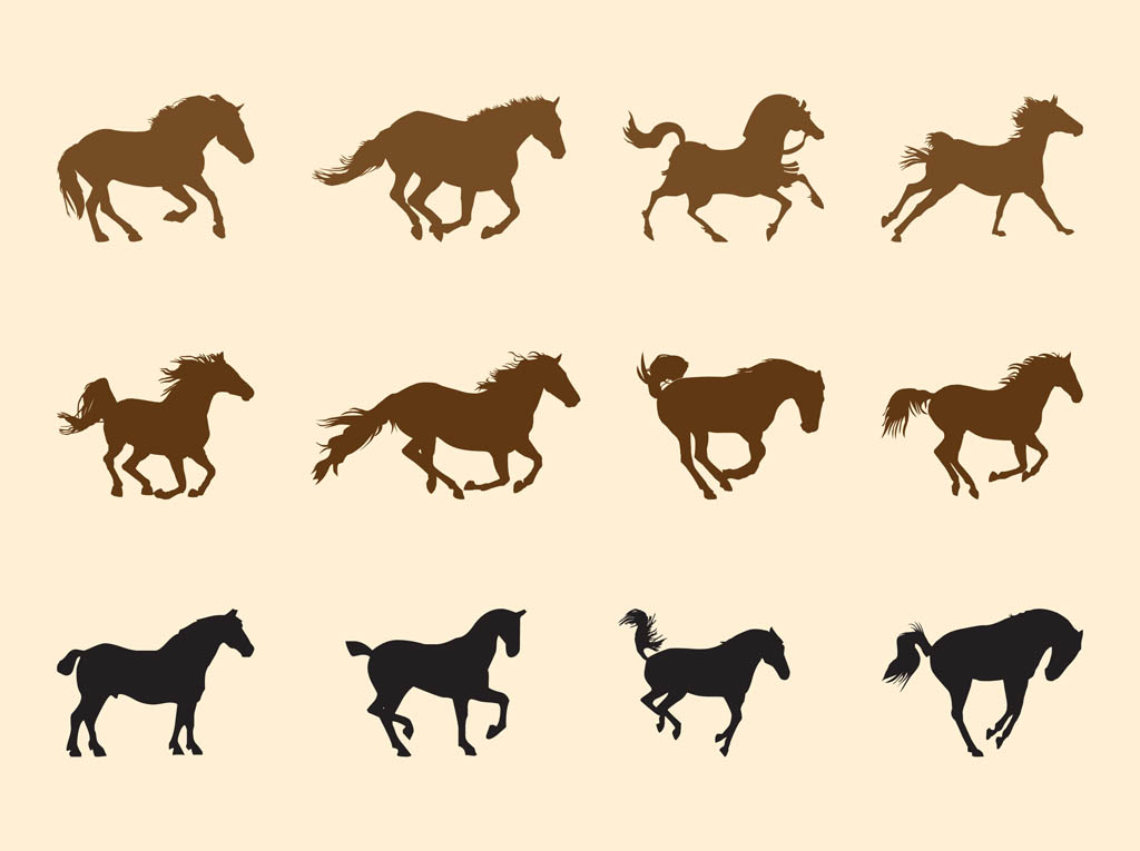 Cartoon Horse Running Sequence Horses silhouettes set