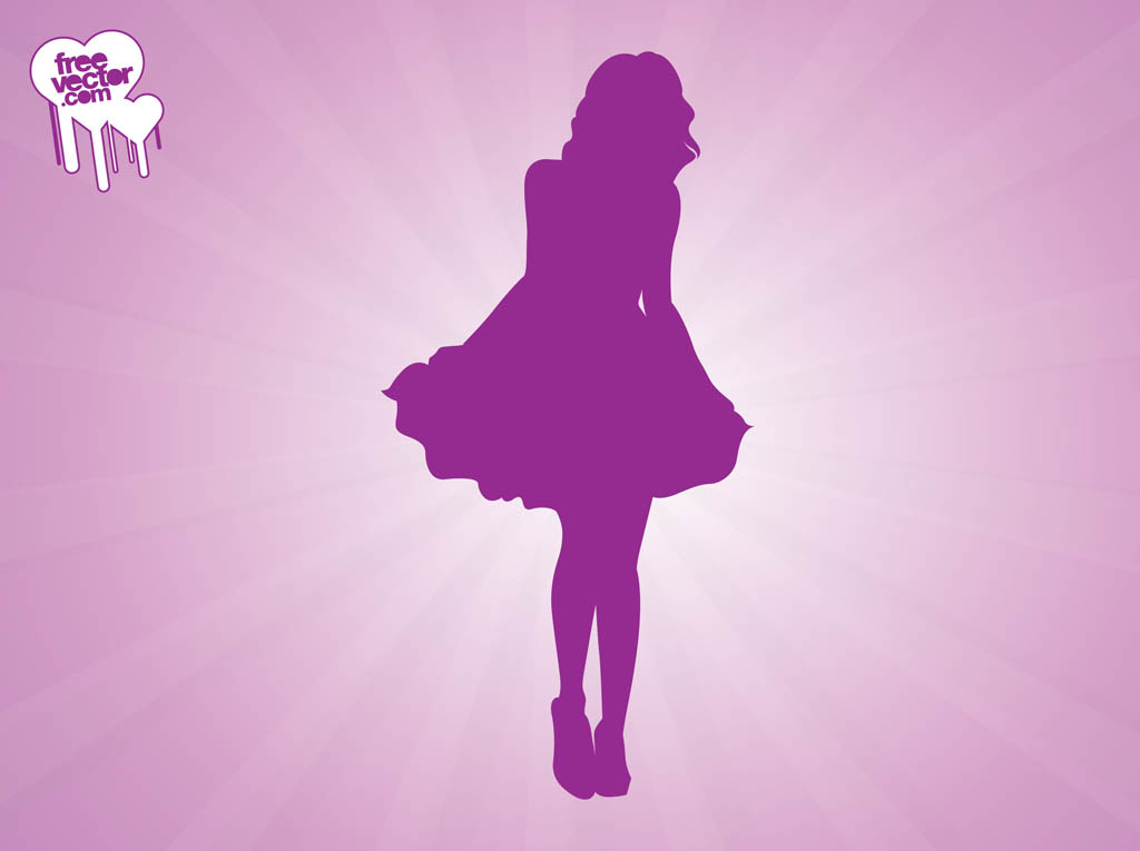 Woman Wearing Dress Silhouette Vector Art & Graphics ...