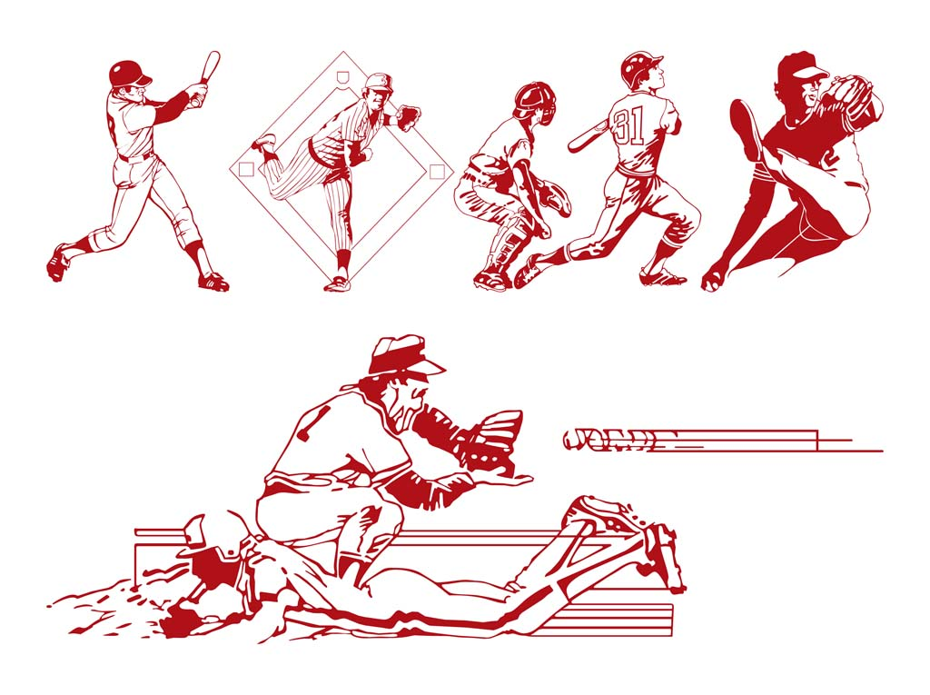Baseball Players Vector Art Graphics