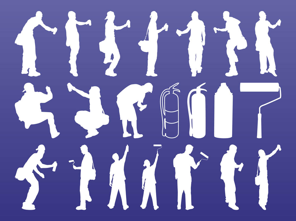 Graffiti Artists Silhouettes Vector Art Graphics