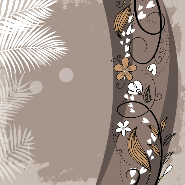 Brown Floral Swirl Vector Background