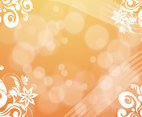 Orange Flowers Bubbles Background