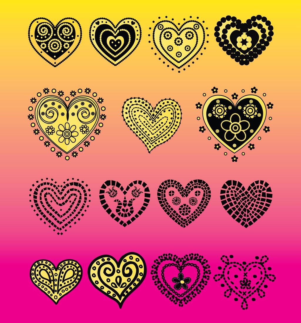 Heart Vector Doodles