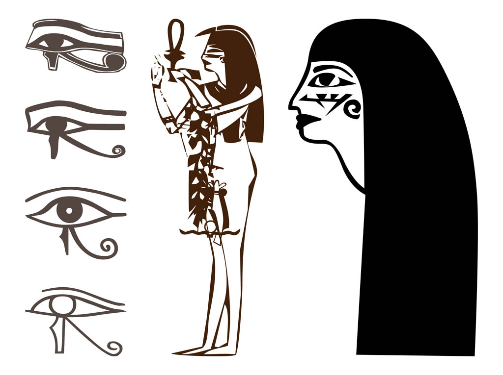 Egyptian Drawings Set Vector Art & Graphics | freevector.com