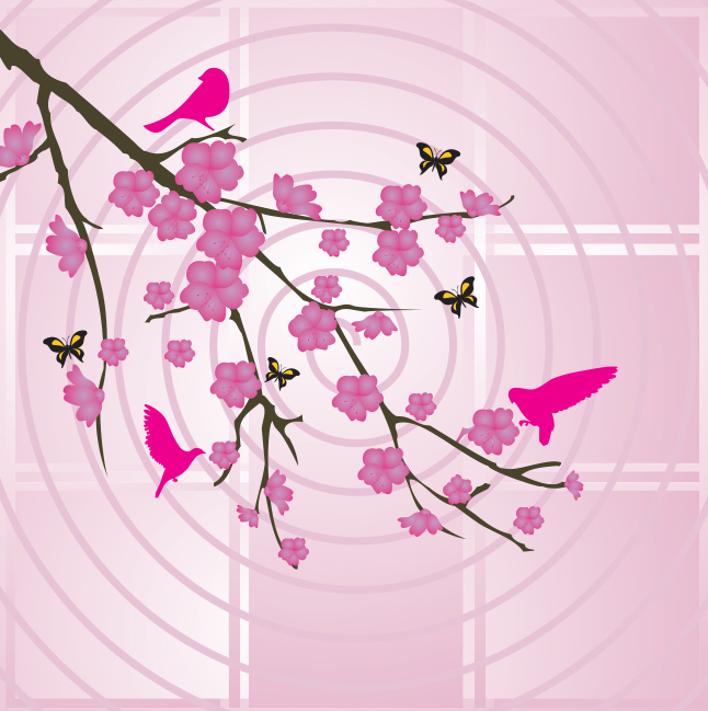 Pink Birds on Branches Vector