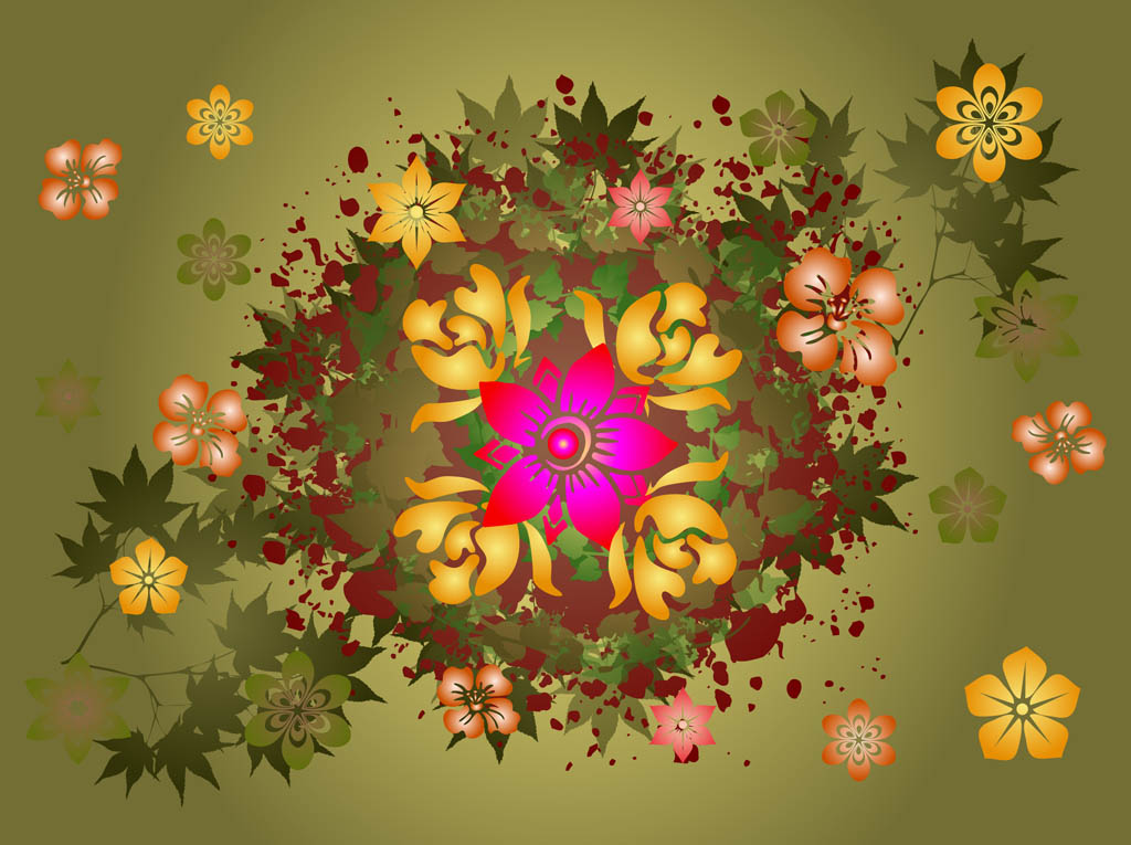 Leaves And Flowers Vector