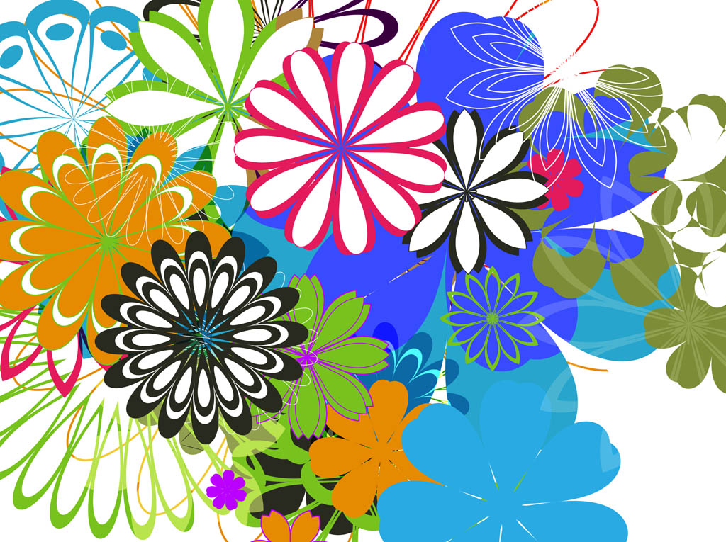 Colorful Flowers Background Art Vector Art & Graphics ... Colorful Flowers Clipart