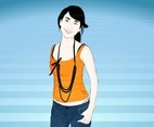 Asian Girl Vector