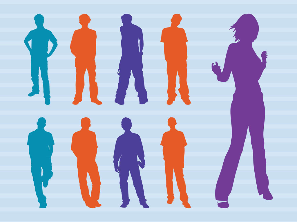 Colorful People Silhouettes Vector