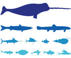 Sea Animals Silhouettes Set