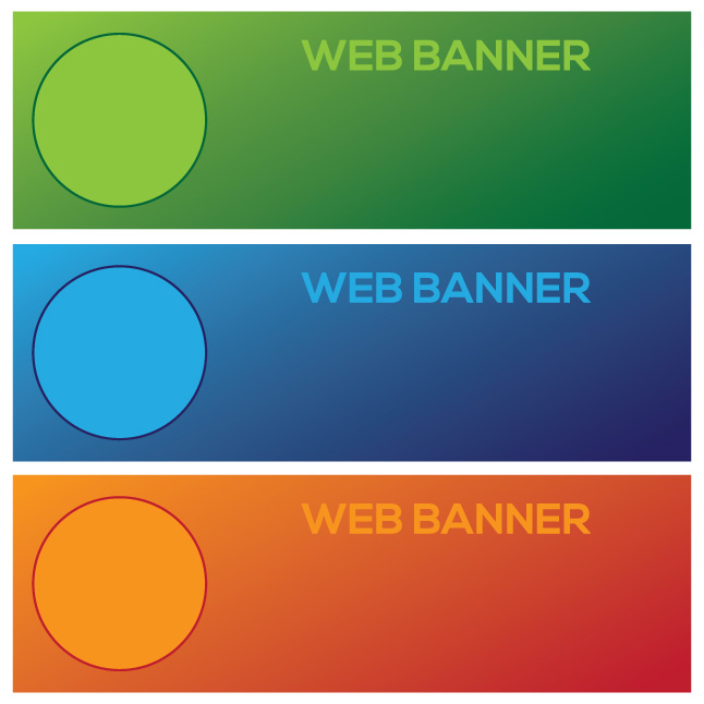 Three Colorful Banner Vectors