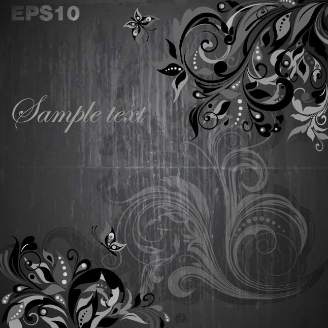 Grunge Floral Background Vector Two