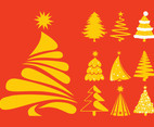 Christmas Trees Silhouettes Set