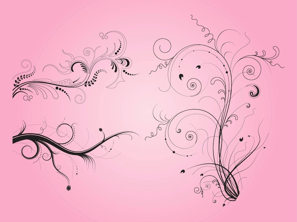 Swirling Plants Clip Art