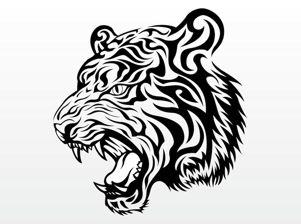 Tiger Head Vector Graphic