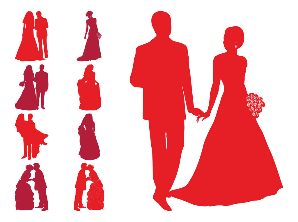 Wedding Silhouettes Vector Art Amp Graphics Freevector Com