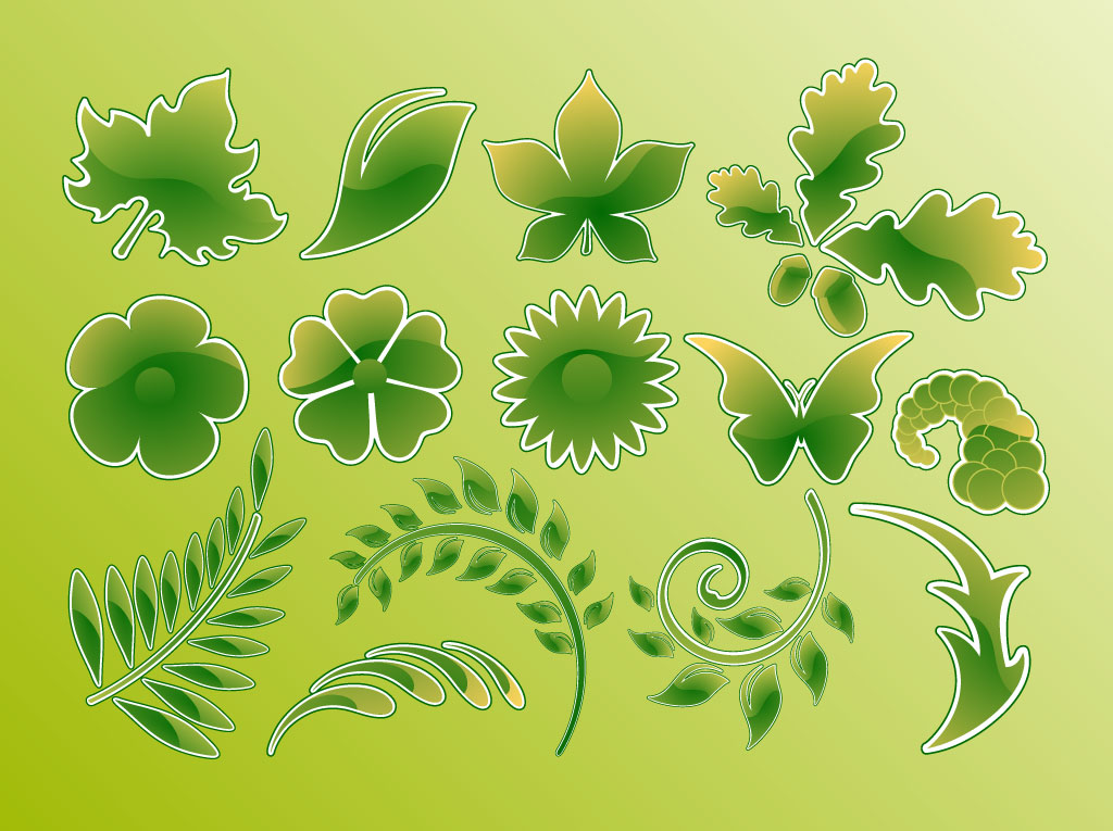 Green Glossy Vector Leaves