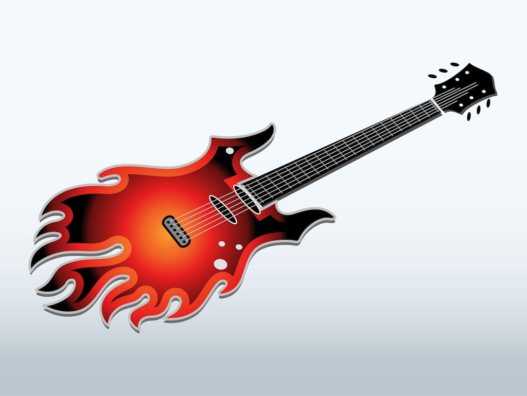 Flaming Electric Guitar