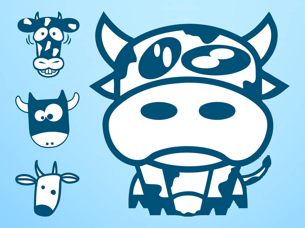 Cow Characters Vector Vector Art & Graphics | freevector com