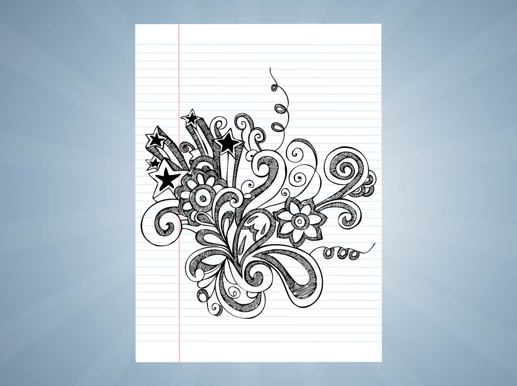 Drawing With Notebook Lines : Notebook drawings vector art graphics