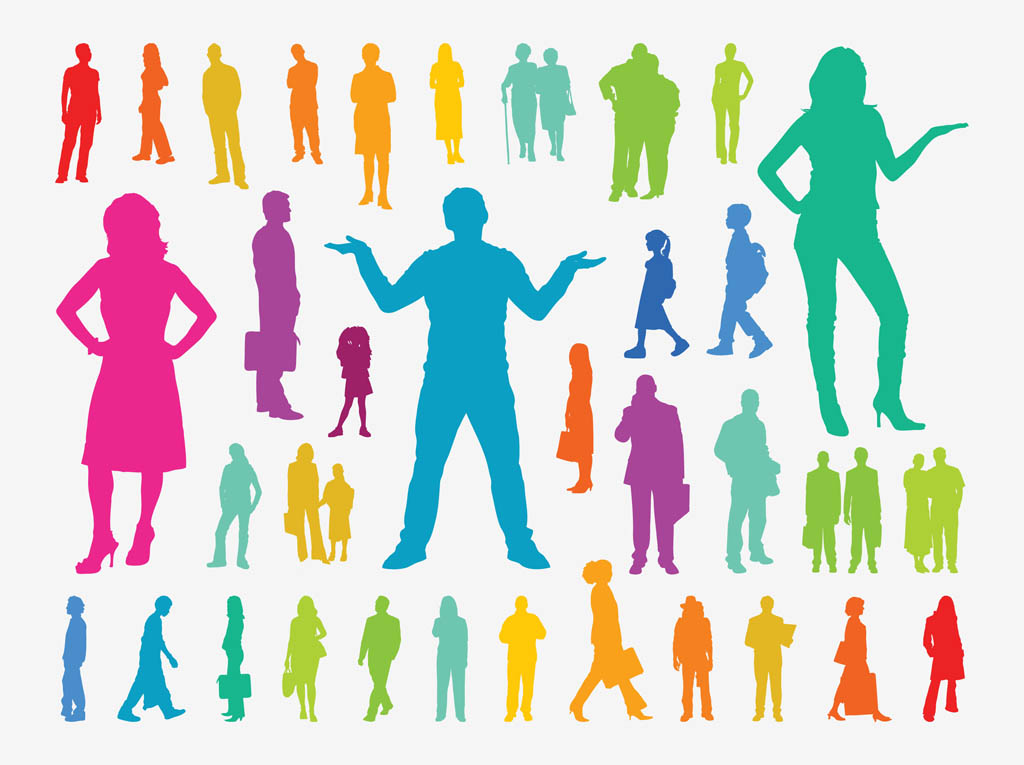 Colorful People Silhouettes Vector Art & Graphics ... Colorful People