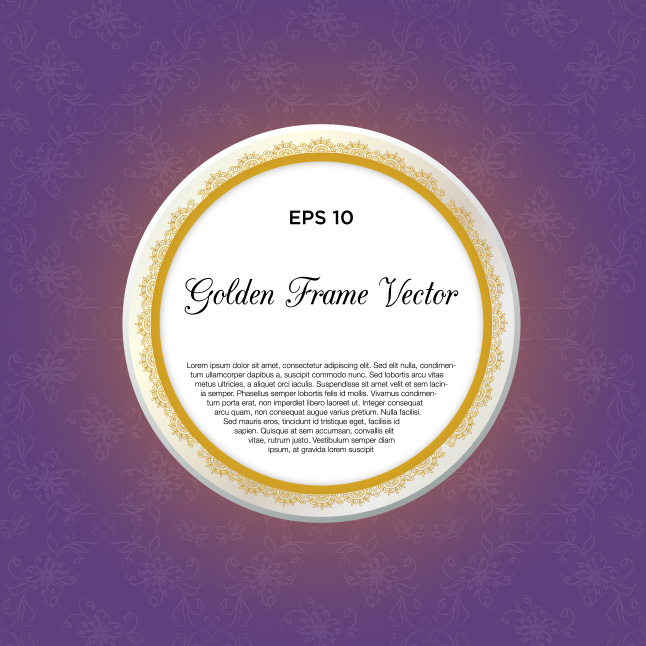 Free Elegant Purple and Gold Frame Vector