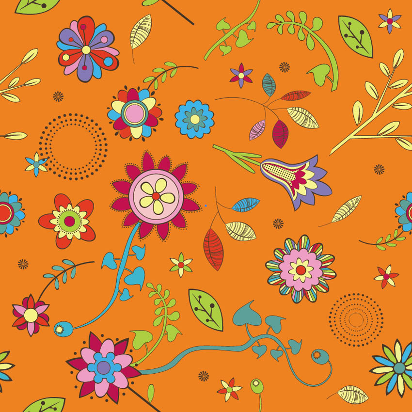 Retro Flower Vector Brush