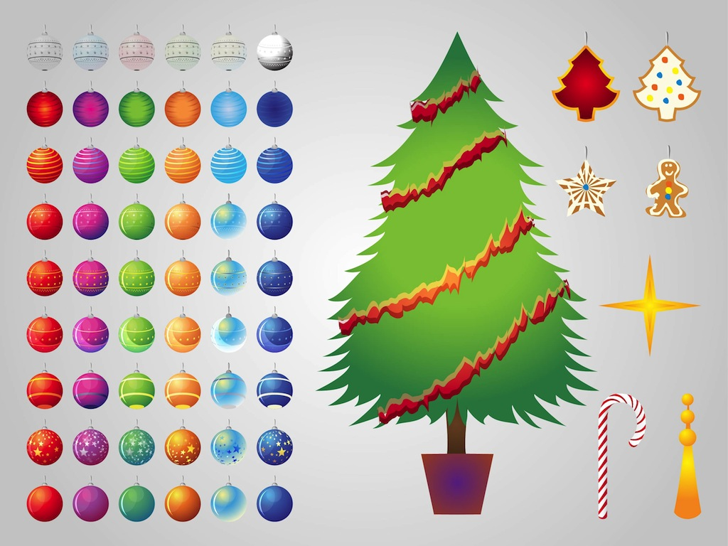 FreeVector Christmas Tree Decorations