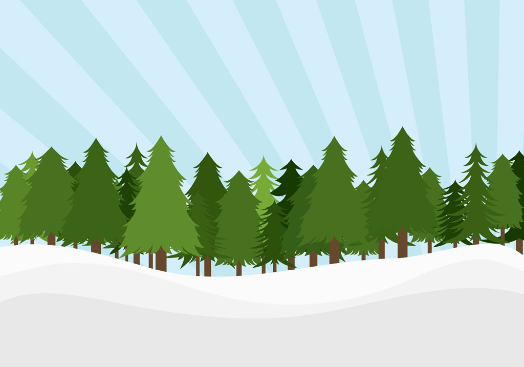 Landscape Trees Vector : Pine trees landscape vector art graphics freevector