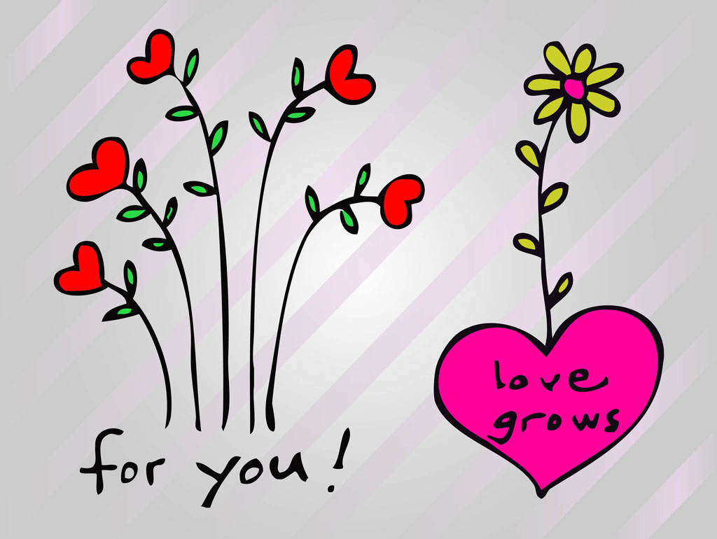 heart flowers vector art  graphics  freevector, Beautiful flower