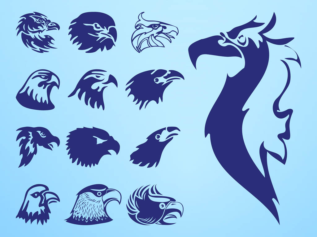 Eagle Heads Set  Eagle Head Silhouette Vector