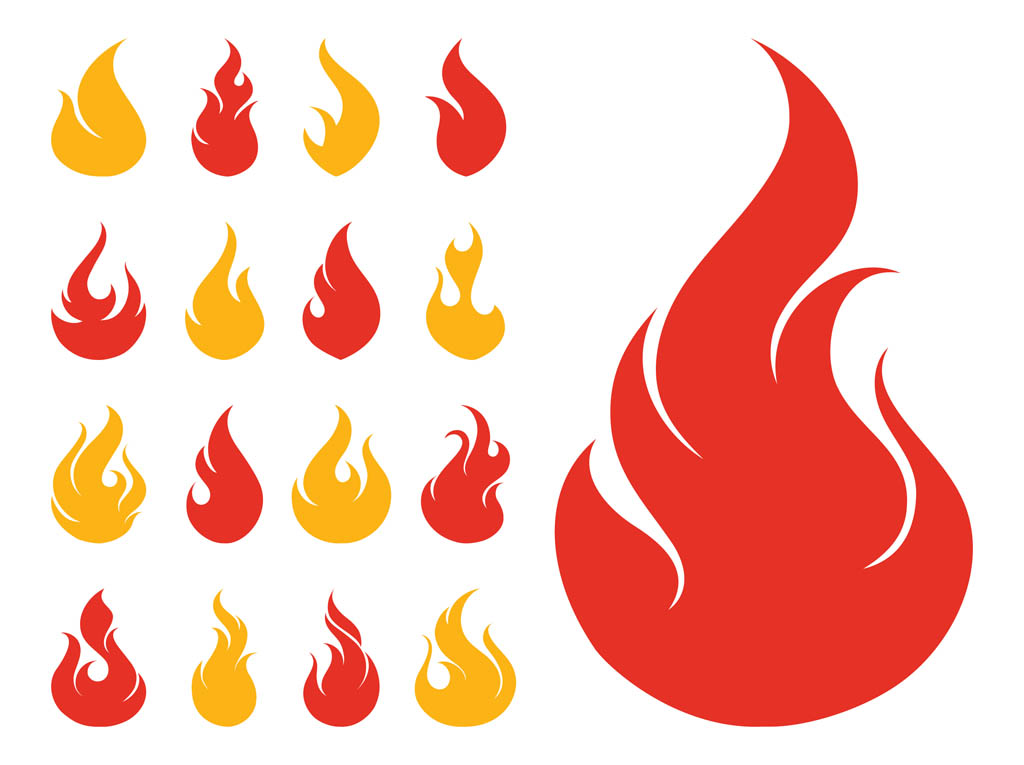 fire icons set vector art & graphics | freevector